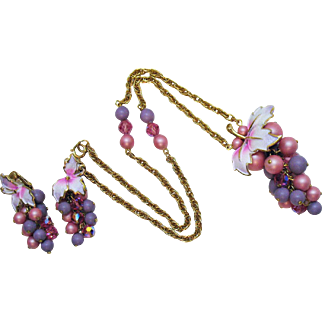 Signed Jewels by Park Lane Vintage Enameled Glass Beaded Necklace Earrings Set