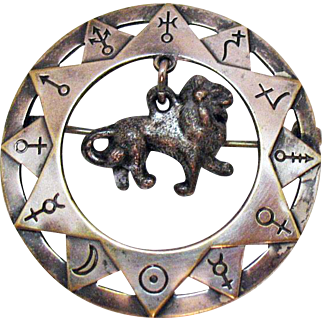 Unusual Egyptian Theme Vintage Sterling Lion Charm Hand Crafted Brooch