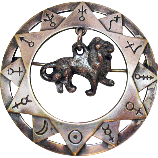 Unusual Zodiac Vintage Sterling Leo the Lion Charm Hand Crafted Brooch