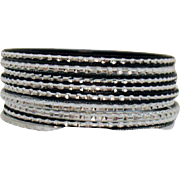 Awesome Vintage Set of 9 Black Silver Etched Aluminum Bangle Bracelets