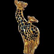 Darling Vintage Mom Baby Enameled Giraffe Golden Brooch