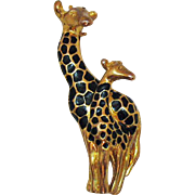 Darling Vintage Mom Baby Enameled Giraffe Golden Brooch