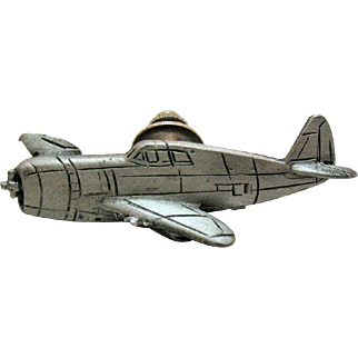 Unusual Vintage WW 2 P-40 Fighter Plane Air Force Clutch Pin