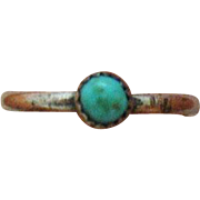 Very Old Hand Wrought Sterling Silver Vintage Untreated Turquoise Ring