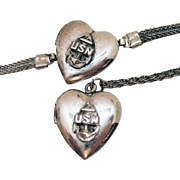 Rare WW 2 Sweetheart Military USN Vintage Heart Locket Necklace Bracelet Set