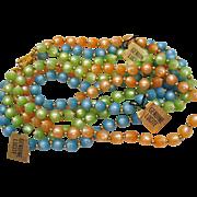 Vintage Genuine Lucite Moon Glow Beaded Necklaces Set of Three Unworn Original Tags