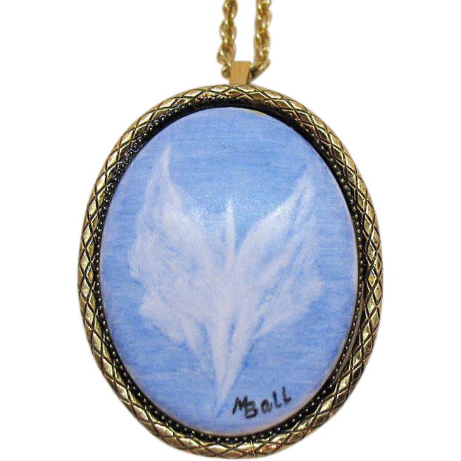 Beautiful Signed M Ball Vintage Ceramic Angel Convertible Necklace Brooch Hand Painted