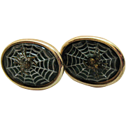 Unusual Vintage Reverse Painted Spider Web with Applied Spider Cuff Links Unisex
