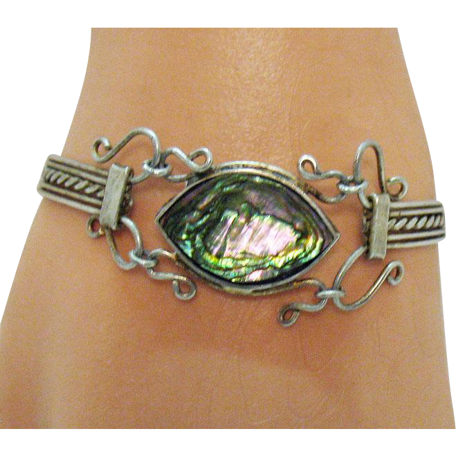 Unique Mexican Sterling Silver Vintage Hand Wired Abalone Bracelet