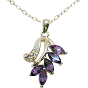 Signed NV Sterling Silver 925 Vintage Marquise Amethyst Diamond Chip Necklace - Red Tag Sale Item