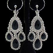 Vintage Shoulder Duster Clip Earrings Black Faceted Glass Stones