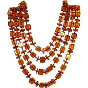 Stunning Vintage Art Deco Period Hand Knotted Amber Glass 1920s Necklace 54 Inches Long