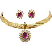Vintage Simulated Pink Sapphire Diamond Golden Woven Necklace Pierced Earrings Set