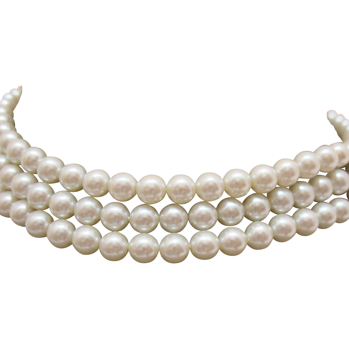 Signed Carolee New Old Stock White Simulated Pearl Choker Necklace Original Tag