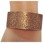 Vintage Copper Intricately Etched Floral Cuff Bracelet