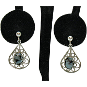 Vintage Silver Filigree Hematite Dangle Pierced Earrings