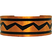 Vintage Signed Solid Copper Etched Shadow Cuff Bracelet Native American Indian