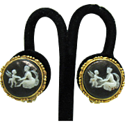 Vintage Cameo Winged Angel Cherub Charcoal Grey White Resin Clip Earrings