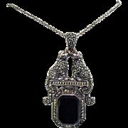 Rare Vintage Signed Figural Jaguar Marcasite Sterling Black Onyx Pendant Necklace