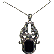 Rare Vintage Signed Figural Jaguar Marcasite Sterling Black Onyx Pendant Necklace