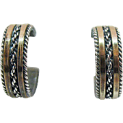 Signed Gahe Navajo Native American Indian Sterling Silver 12K Gold Filled Pierced Hoop Earrings