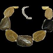 Signed Carol Lee Vintage Bold Earth Tone Lucite Bolder Rock Necklace