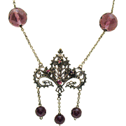 Gorgeous Victorian Revival Vintage Faceted Amethyst Glass Beaded Rhinestone Necklace