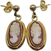 Gorgeous Signed Vintage 12K Gold Filled Genuine Shell Cameo Pierced Earrings