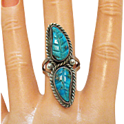 Native American Indian Vintage Turquoise Carved Feather Ring Sterling Silver