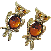 Vintage Topaz Poured Glass Belly Figural Owl Scatter Pins Brooch