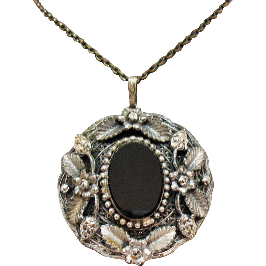 Bold Vintage Black Glass Overlay Floral Marcasite Pendant Necklace