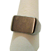 Wonderful Old Sterling Silver Men's Vintage Wide Signet Ring