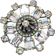 Rare Unsigned Weiss Dome Crystal Rhinestone Brooch