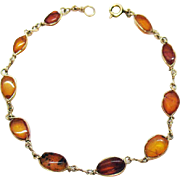 Vintage Natural Baltic Amber Hand Wired Gold Plated Bracelet.