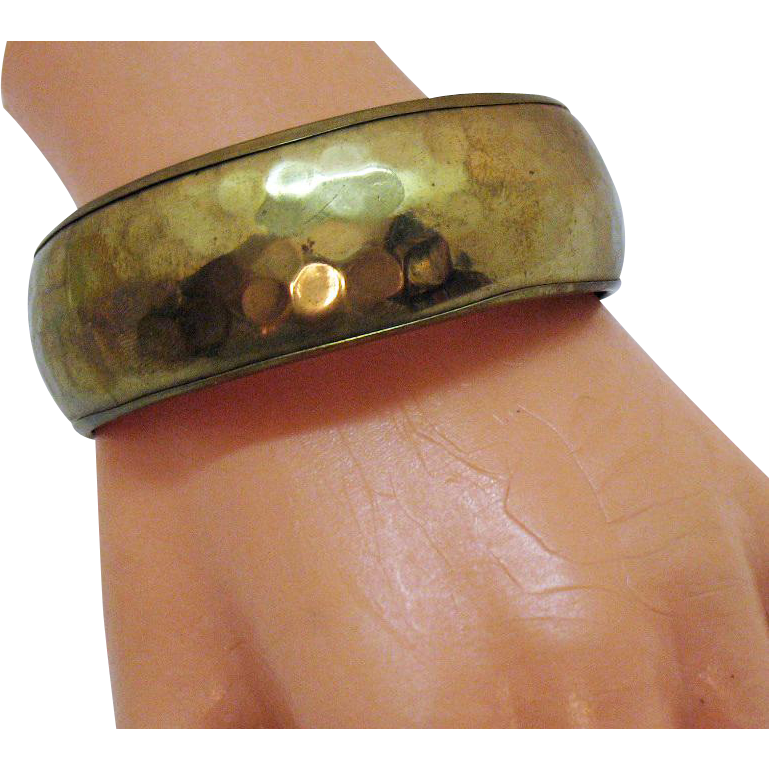 Fabulous Wide Vintage Hand Hammered Brass Bangle Bracelet Made in India Sticker
