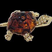Unusual Vintage Root Beer Lucite Pava Rhinestone Figural Turtle Brooch