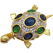 Awesome Vintage Sea Turtle Pava Rhinestone Poured Glass Cabochon Brooch