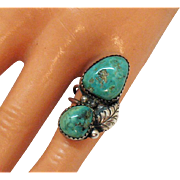 Very old Vintage Navajo Native American Indian Natural Turquoise Sterling Silver Ring Size 2 3/4