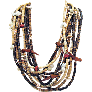 Vintage Native American Indian Heishe Shell Wood Fetish Bird Necklace Coral Sea Shells