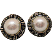 Signed Charles Winston Vintage Sterling Silver Pierced Earrings Marcasite Faux Pearl