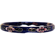 Vintage Cobalt Blue Gilded Enamel Cloisonné Bangle Bracelet Hinged