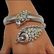 Signed Coro Pegasus Vintage Tubogas Bracelet and Brooch Set Cornucopia Rhinestones