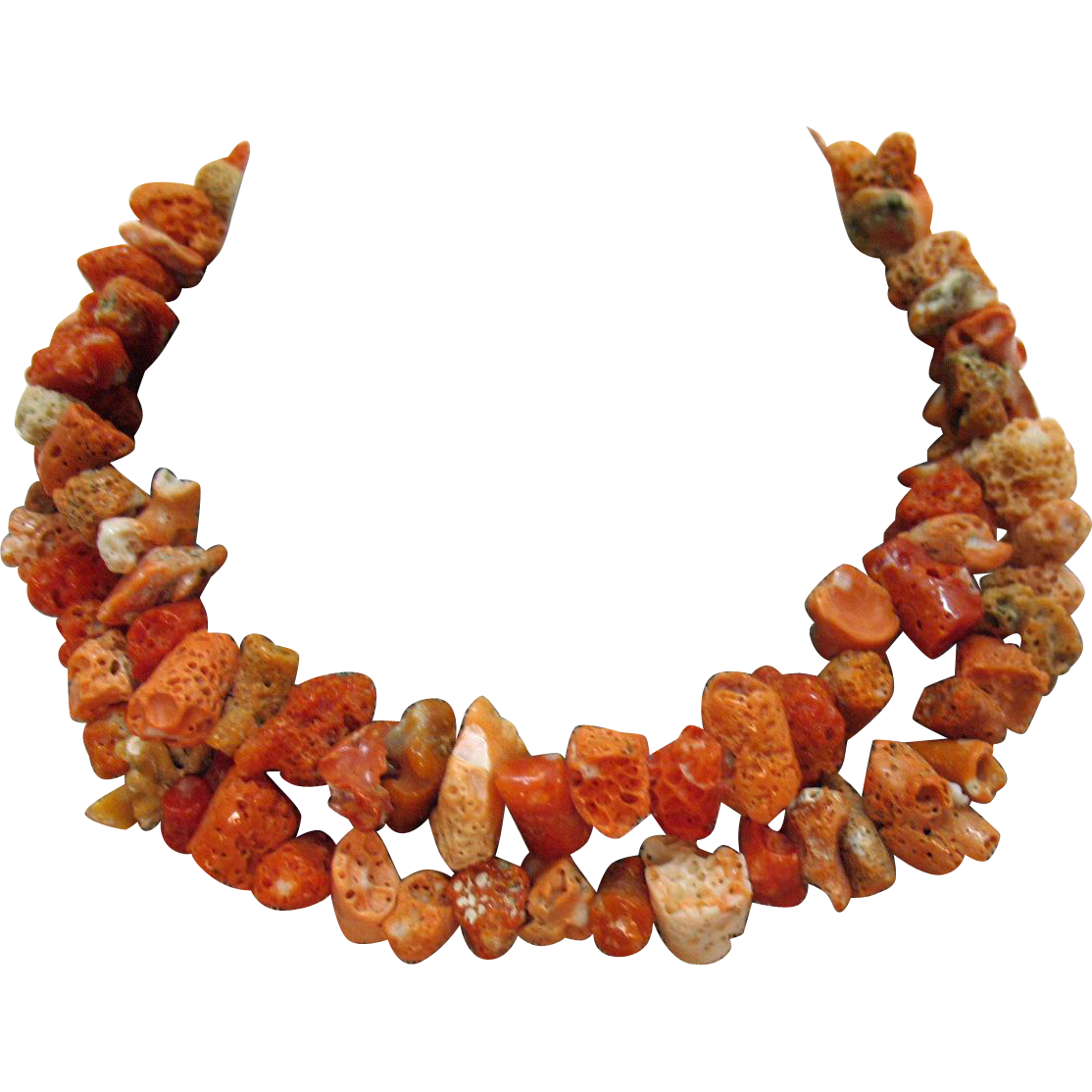 Organtic Vintage Natural Coral Beaded Necklace
