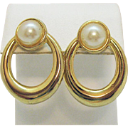 Vintage 1980s Golden Faux Pearl Pierced Earrings