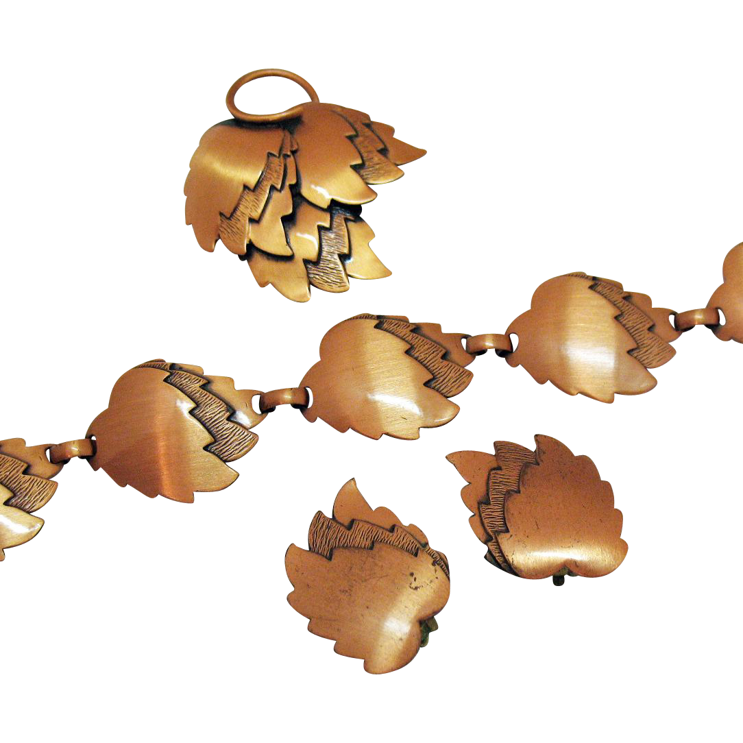 Fabulous Modernistic Copper Hand Wrought Vintage Bracelet Brooch Earrings Set Original Sticker