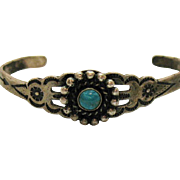 Vintage Sterling Silver Native American Indian Story Tell Turquoise Cuff Bracelet Petite or Children's