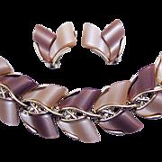Vintage Champagne Two Tone Thermoset Bracelet Earrings Set Unworn!