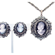 Beautiful Vintage Victorian Revival Grey Silver Cameo Necklace Earrings Set