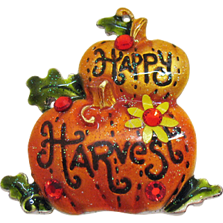 Signed AJMC Wonderful Vintage Enameled Pumpkin Brooch Happy Harvest