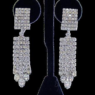 Signed Napier Vintage Drippy Rhinestone Stunning Clip Earrings
